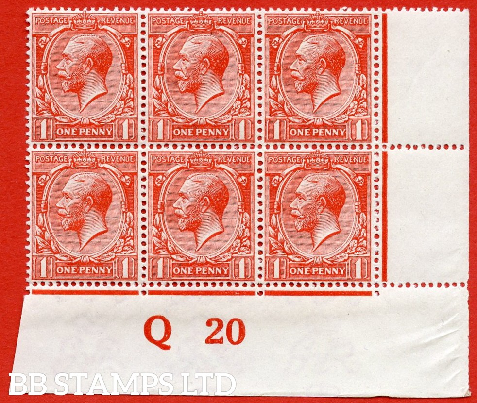 "SG. 361. N16 (14 ). 1d Scarlet - Vermilion. A superb UNMOUNTED MINT control "" Q20 imperf "" block of 6. A scarce multiple complete with RPS certificate."