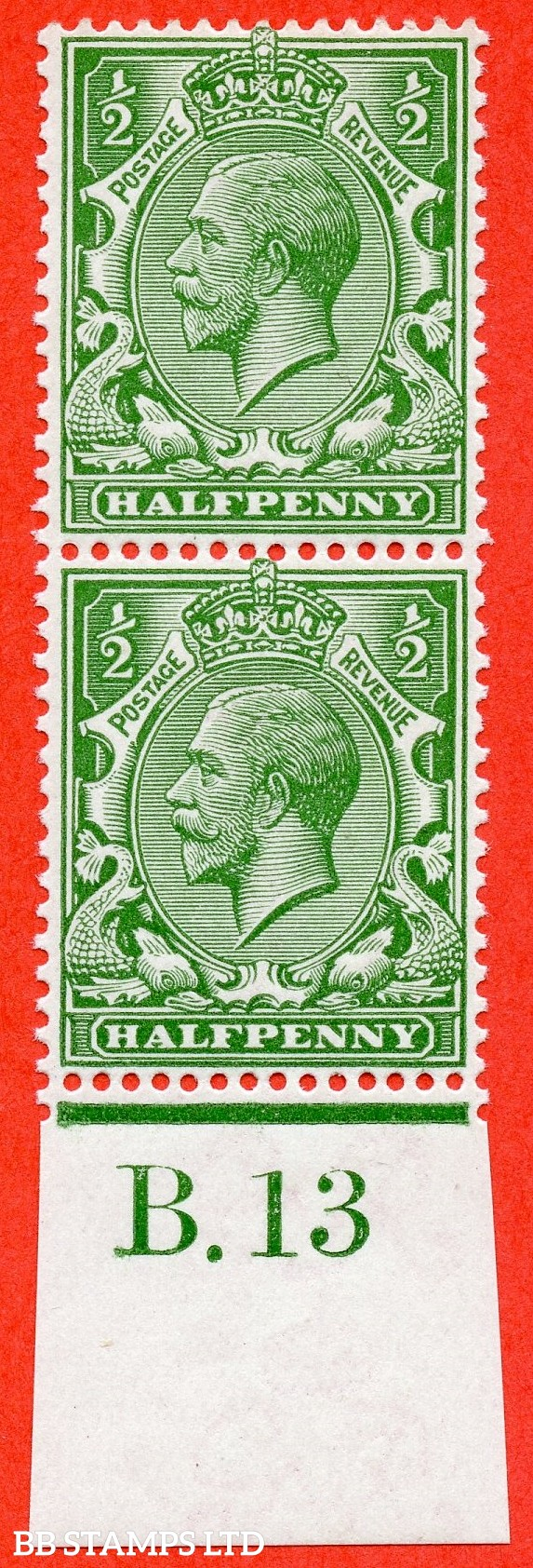 """SG. 352. N14 (6) ea. ½d bright green. """" DOUBLE WATERMARK """". A very fine UNMOUNTED MINT bottom marginal control """" B.13 imperf """" vertical pair. Complete with RPS certificate."""