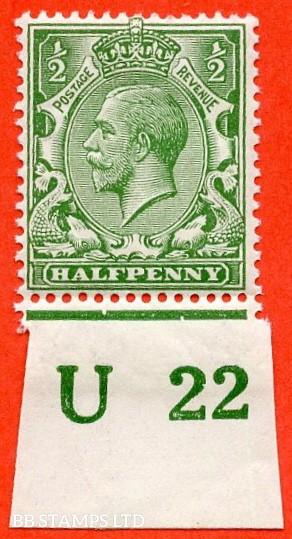 "SG. 351. ½d Green. A fine mounted mint "" U22 imperf "" control single"