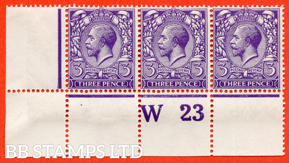 "SG. 376. Variety N22 ( 10 ). 3d Very Deep Violet. A fine UNMOUNTED MINT control "" W23 perf "" strip of 3 complete with Hendon certificate."