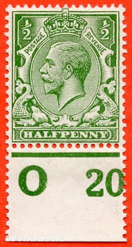 """SG. 351. ½d Green. A fine mounted mint """" O20 perf """" control single"""