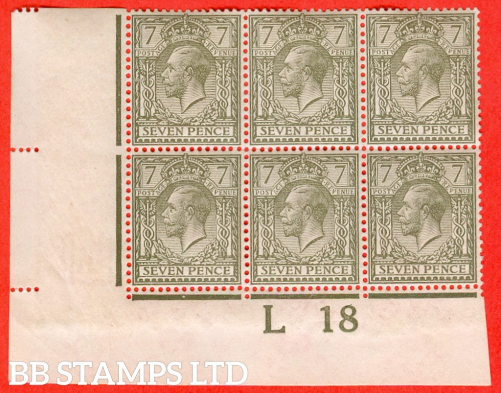 "SG. 387. N27 (1). 7d olive. A very fine UNMOUNTED MINT "" control L18 imperf "" block of 6. Perf type 2 and watermark type III. Complete with RPS certificate."