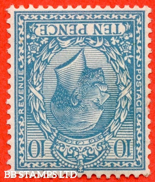 SG. 394 wi. N31 (2)a . 10d Turquoise - Blue. INVERTED WATERMARK. A very fine well centred UNMOUNTED MINT example of this RARE George V watermark variety.
