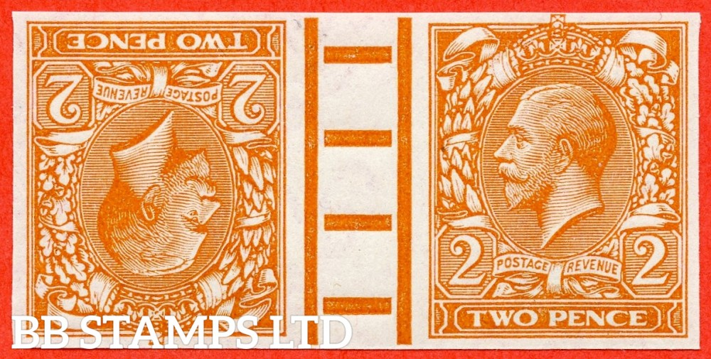 "SG. 368. N19 (5). 2d Orange. ( Die I ).  IMPRIMATUR. A superb UNMOUNTED MINT interpanneau gutter pair backstamped "" BPMA ""."