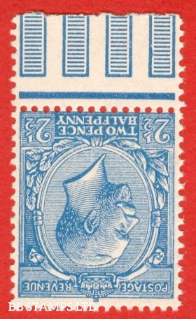 SG. 371 a wi. Variety N 21 (un) b. 2 1/2d Pale bright blue. INVERTED WATERMARK. A superb UNMOUNTED MINT bottom marginal example of this known but UNLISTED George V shade variety.