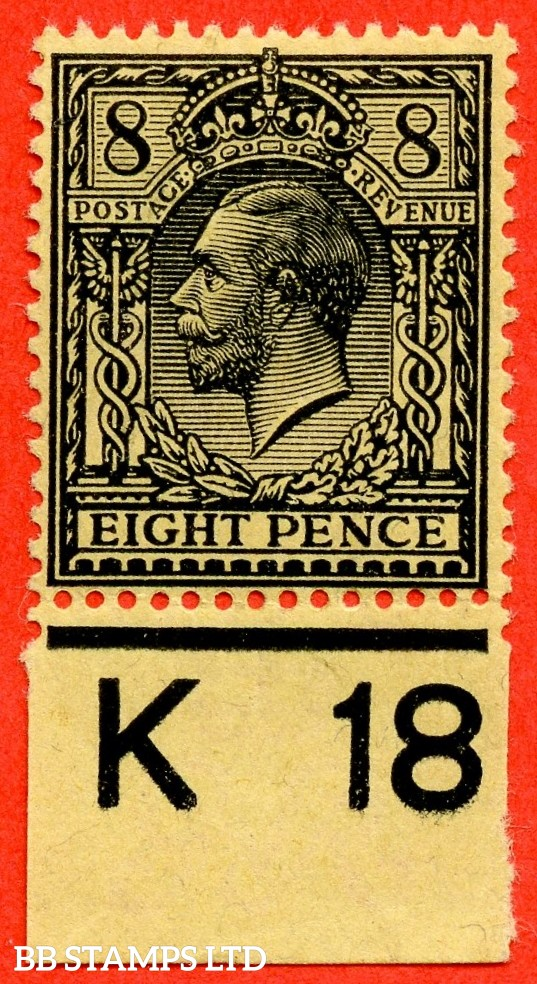"SG. 391. N28 (2). 8d Black/Yellow. ( Granite Paper ). A superb UNMOUNTED MINT control "" K18 imperf "" example. Perf type 2. The RAREST of the 8d controls."