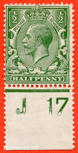 """SG. 351. ½d Green. A fine mounted mint """" J17 perf """" control single."""
