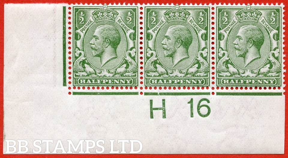 """SG. N14 (12). ½d Olive Green. A very fine mint control """" H16 imperf """" perf type II strip of 3 of this scarce George V shade variety."""