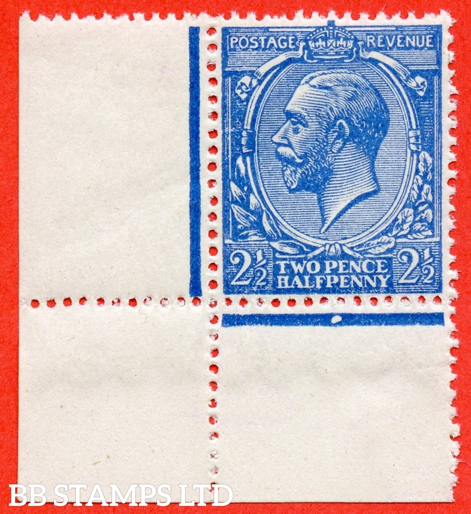 SG. N21 (UNLISTED). 2½d pale bright blue. A superb UNMOUNTED MINT bottom left hand corner marginal example of this known but unlisted by SG. Shade variety complete with RPS certificate.