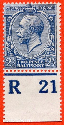 "SG. 373a. N 21 ( 17 ). 2½d Dull Prussian Blue. A superb UNMOUNTED MINT Control "" R 21 imperf "" example of this very scarce shade complete with BPA certificate."
