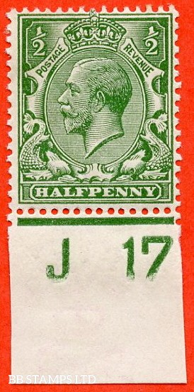 """SG. 351. ½d Green. A fine mounted mint """" J17 imperf """" control single."""