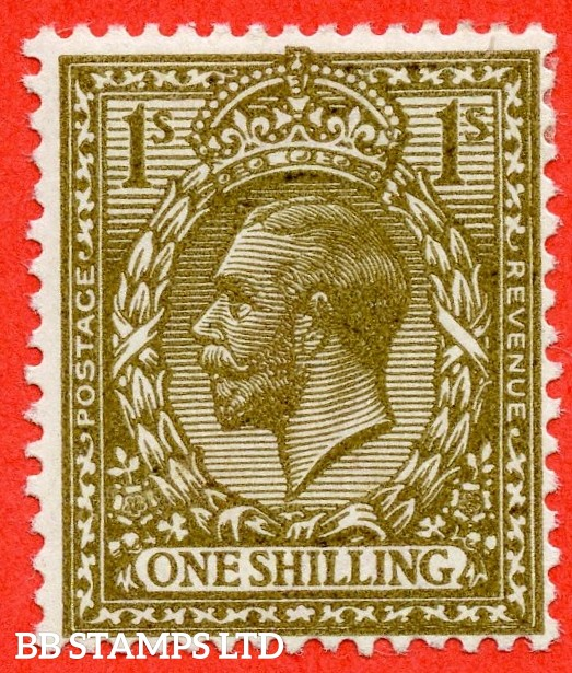 SG. N32 (10). 1/- deep bronze - brown. A fine lightly mounted mint example of this RARE and underrated George V shade variety complete with BPA certificate.