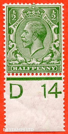 """SG. 351. ½d Green. A fine mounted mint """" D14 perf """" control single."""