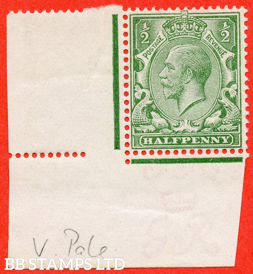 SG. 353 variety N14 (4). 1/2d very pale green. A very fine UNMOUNTED MINT bottom left hand corner marginal example of this scarce George V shade complete with Hendon certificate.
