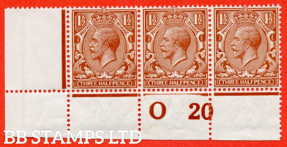 """SG. N18 (16). 1½d Bright Orange Brown. A super UNMOUNTED MINT control """" 020 perf """" strip of 3 complete with RPS certificate."""