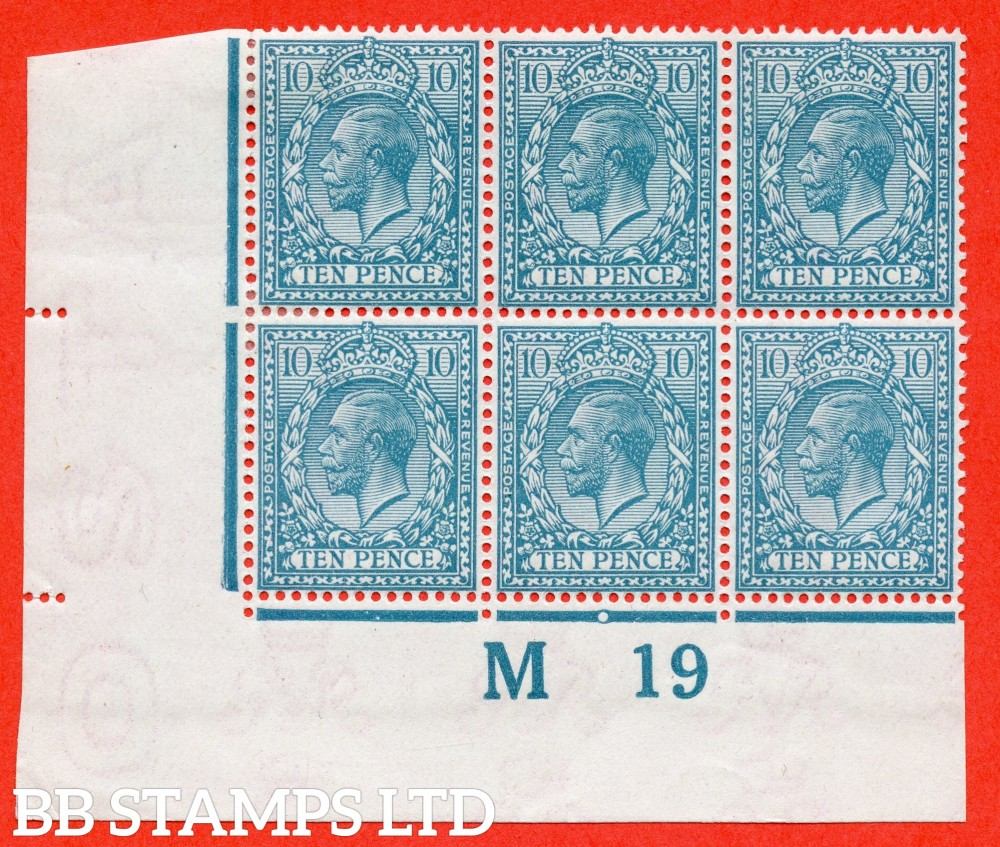 """SG. 394. N31 (2). 10d turquoise blue. A fine lightly mounted mint control """" M19 imperf """" block of 6. Perf type 2. Watermark type III."""
