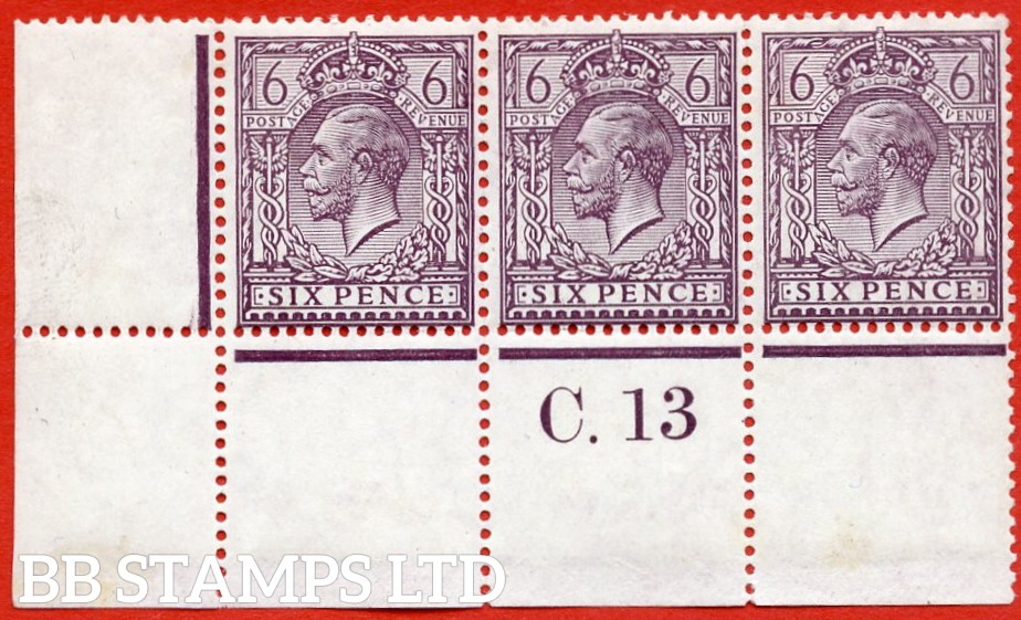 "SG. 384 variety N26 (2). 6d Slate purple. A superb UNMOUNTED MINT "" control C.13 perf "" strip of 3. Perf type 2A and complete with RPS certificate. A RARE shade to find in multiples these days."