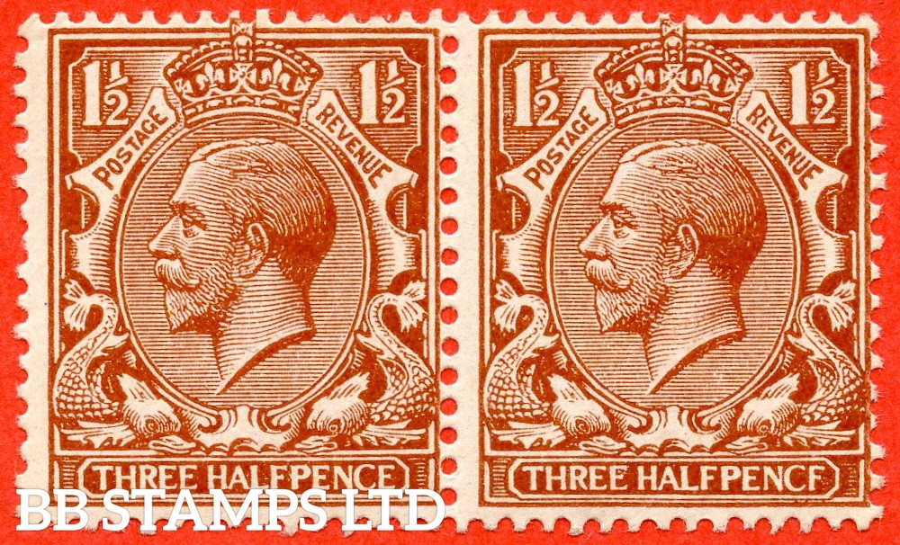 """SG. 364 a. N18 (13) f. 1 ½d Chestnut """"PENCF"""" error. A super UNMOUNTED MINT horizontal pair. The right hand stamp clearly showing the variety."""