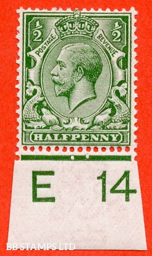 """SG. 351. ½d Green. A fine mounted mint """" E14 imperf """" control single."""