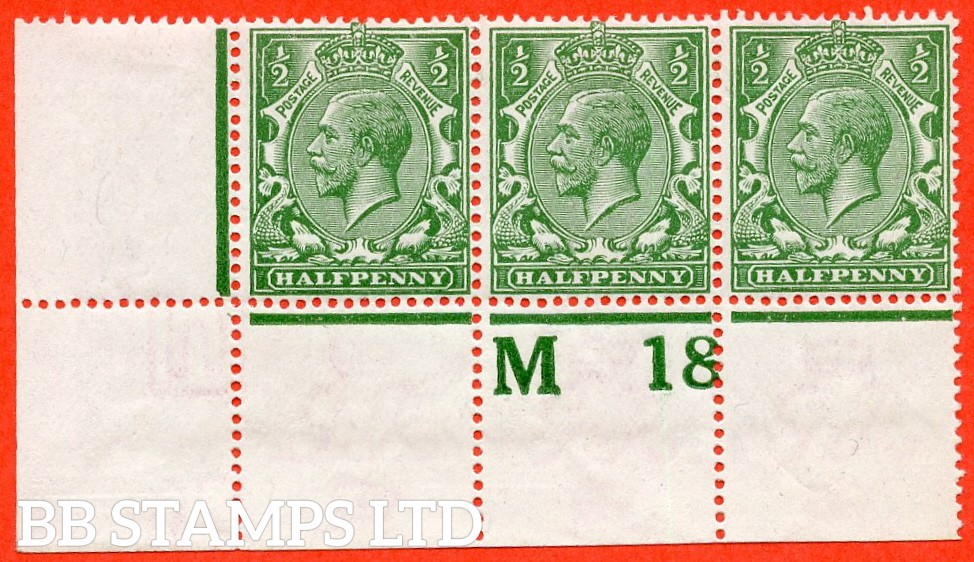 """SG. 351. N14 (1) k. ½d Green. A very fine mint control """" M18 perf """" strip of 3. Perf type 2A from plate 43b and including the listed variety """" coloured mark on right dolphins eye ( row 20/2 ). """""""