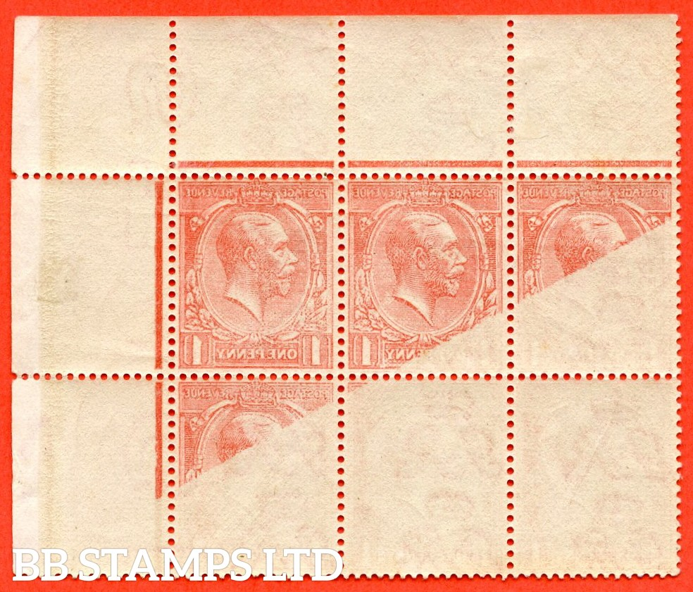 SG. 357. N16 (1). 1d Bright Scarlet. A superb UNMOUNTED MINT top right hand corner marginal block of 6 with a cracking OFF - SET ERROR.