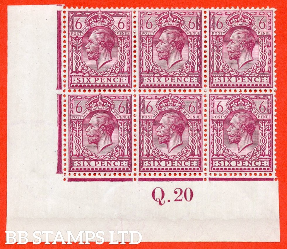 """SG. 385 a. N26 (3) e. 6d reddish purple. """" Perf. 14 """". A super totally UNMOUNTED MINT control """" Q.20 imperf """" block of 6."""