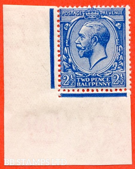 SG. 371a. Variety N21 (5). 2½d deep bright blue. A super UNMOUNTED MINT bottom left hand corner marginal example. Complete with Hendon certificate.