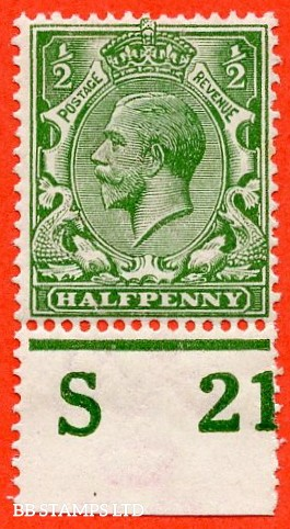 """SG. 351. ½d Green. A fine mounted mint """" S21 perf """" control single"""
