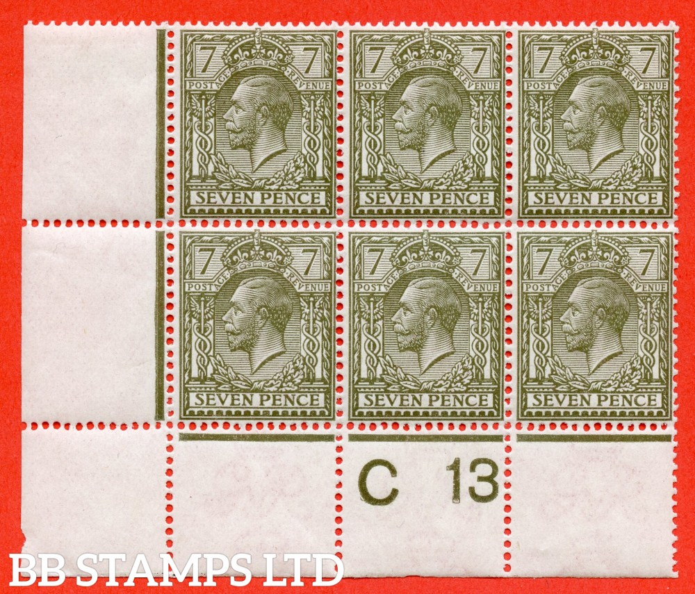 "SG. 387. N27 (1). 7d olive. A fine UNMOUNTED MINT ( mounted in the margin only ) control "" C13 perf "" block of 6. Watermark type II. Perf type 2A."
