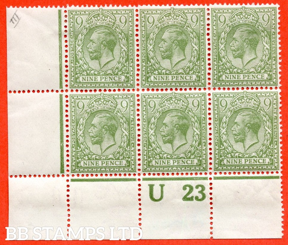 "SG. 393b. N30 (2). 9d pale olive green. A superb mint control "" U23 perf "" corner block of 6. Perf type 2A. Watermark type II and a very scarce block these days."