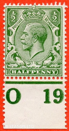 """SG. 351. ½d Green. A fine mounted mint """" O19 perf """" control single"""