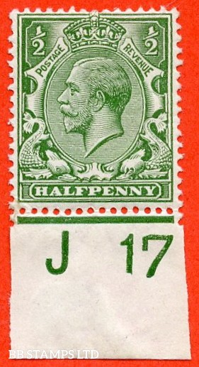 """SG. 351. N14 (1) k. ½d Green. A very fine mounted mint control """" J17 imperf """" example. Clearly showing the listed variety """" coloured mark on right dolphins eye ( row 20/2 ). """""""