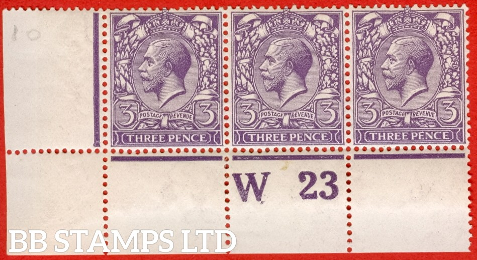 "SG. 376. Variety N22 ( 10 ). 3d Very Deep Violet. A very fine lightly mounted mint control "" W23 perf "" strip of 3. Perf type 2A watermark type II and complete with RPS certificate."
