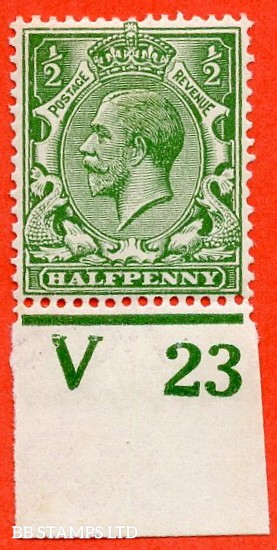 """SG. 351. ½d Green. A fine mounted mint """" V23 imperf """" control single"""