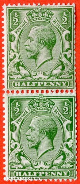 """SG. 352. N14 (6) ra. ½d Bright Green. """" COIL JOIN . A fine mounted mint vertical pair of this listed variety. Watermark type II."""
