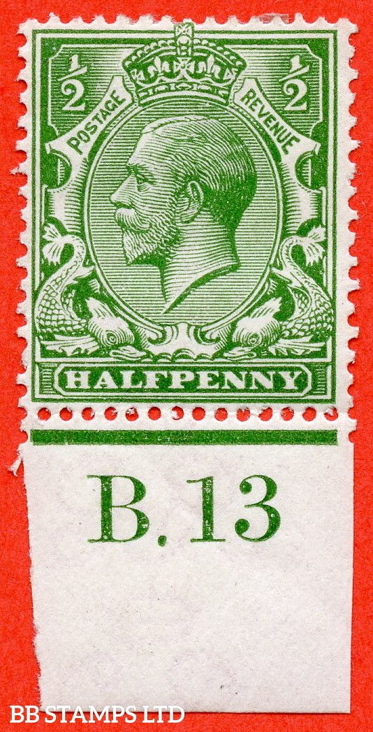 """SG. 351. ½d Green. A fine mounted mint """" B.13 imperf """" control single."""