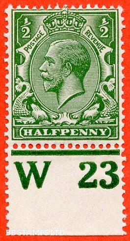 """SG. 351. ½d Green. A fine mounted mint """" W23 perf """" control single"""