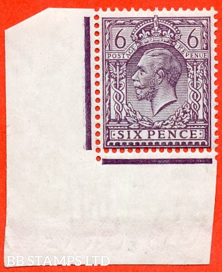 SG. 384 variety N26 (2). 6d Slate purple. A fine UNMOUNTED MINT bottom left hand corner marginal example of this very difficult George V shade complete with RPS certificate.