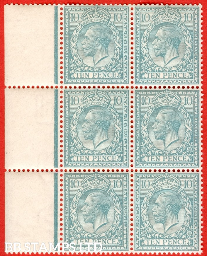 SG. N31 (UNLISTED). 10d Pale Turquoise Blue. A superb UNMOUNTED MINT left hand marginal block of 6 of this scarce known but UNLISTED by SG. George V shade variety. With certificate.
