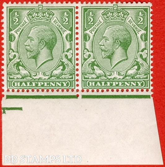 """SG. 351. N14 (1) ea. ½d green. """" DOUBLE WATERMARK """". A very RARE superb mint pair. Perf type 2. Ex Alcock and complete with RPS certificate."""