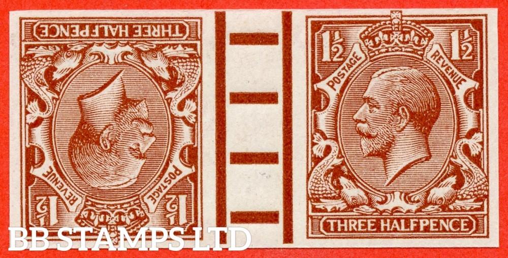 "SG. 362. N18 (1). 1½d Red - brown. IMPRIMATUR. A superb UNMOUNTED MINT interpanneau gutter pair backstamped "" BPMA ""."