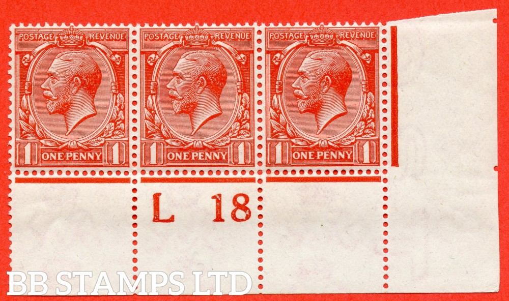 """SG. N16 (15). 1d Orange - Vermilion. A very fine UNMOUNTED MINT control """" L18 perf """" strip of 3 of this scarce shade complete with RPS certificate."""