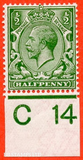 """SG. 351. ½d Green. A fine mounted mint """" C14 imperf """" control single."""