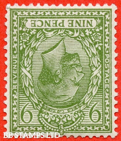 SG. 393a wi. N30 (1) a. 9d olive green. INVERTED WATERMARK. A very fine lightly mounted mint example of this VERY RARE George V variety.