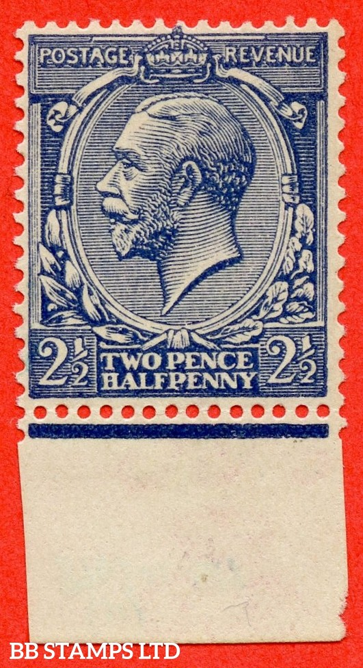 SG. 373 variety N21 (15). 2½d Indigo Blue ( toned paper ). A superb UNMOUNTED MINT bottom marginal example of this VERY RARE George V shade. Complete with RPS certificate.
