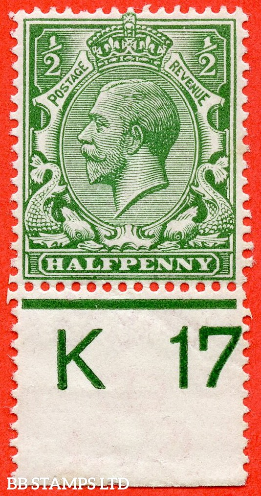 """SG. 351. N14 (1) k. ½d Green. A very fine mounted mint control """" K17 perf """" example. Clearly showing the listed variety """" coloured mark on right dolphins eye ( row 20/2 ). """""""