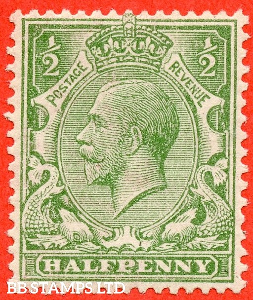 SG. 353 variety N14 (4). 1/2d very pale green. A very fine UNMOUNTED MINT example of this scarce George V shade complete with Hendon certificate.