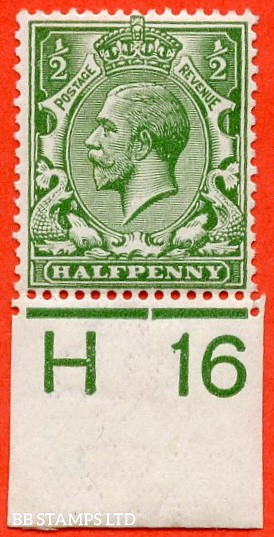 """SG. 351. ½d Green. A fine mounted mint """" H16 imperf """" control single."""