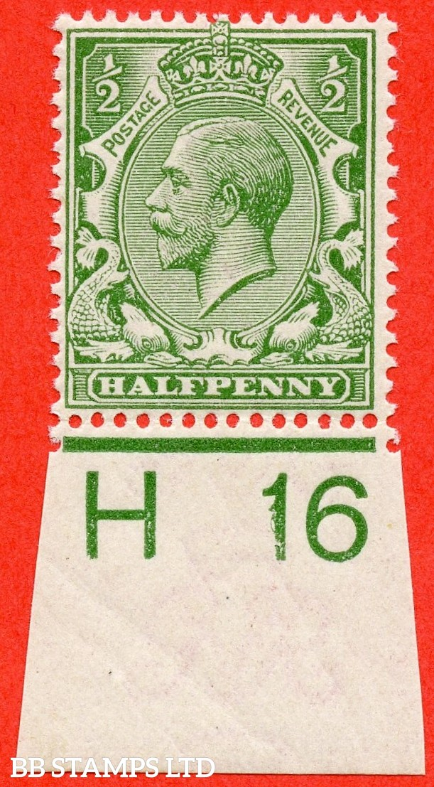 "SG. N14 ( UNLISTED ). ½d pale dull olive green. A very fine UNMOUNTED MINT control "" H16 imperf "" example of this known but unlisted by SG George V shade variety. Complete with Hendon certificate."