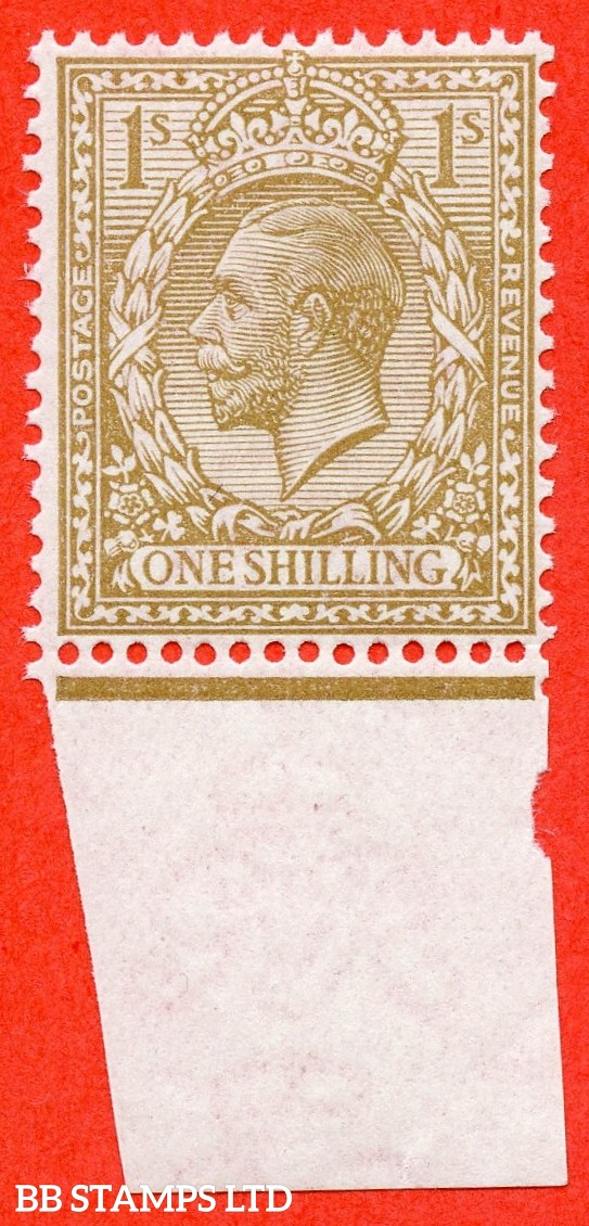 SG. N32 (UNLISTED). 1/- very pale bistre brown. A very fine UNMOUNTED MINT bottom marginal example of this known but unlisted by SG. George V shade variety complete with Hendon certificate.